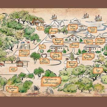 Карта парк-отеля Мечта ручной работы. Акварель и немного фотошопа