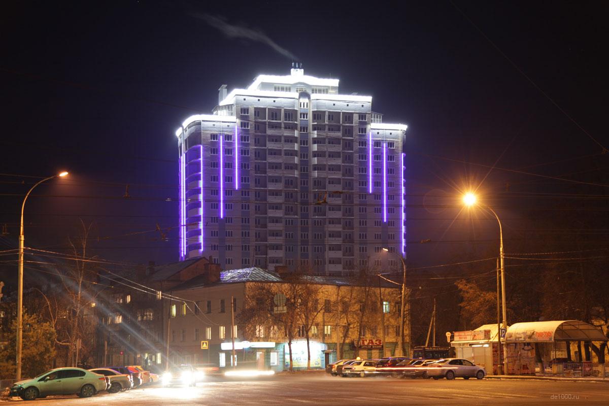 Проект архитектурной подсветки фасада многоэтажки СК Зенит. Орел, ул.Комсомольская, 89