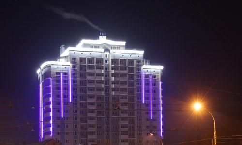 Проект архитектурной подсветки жилого дома, шеф-монтаж. Орел, ул.Комсомольская, 89