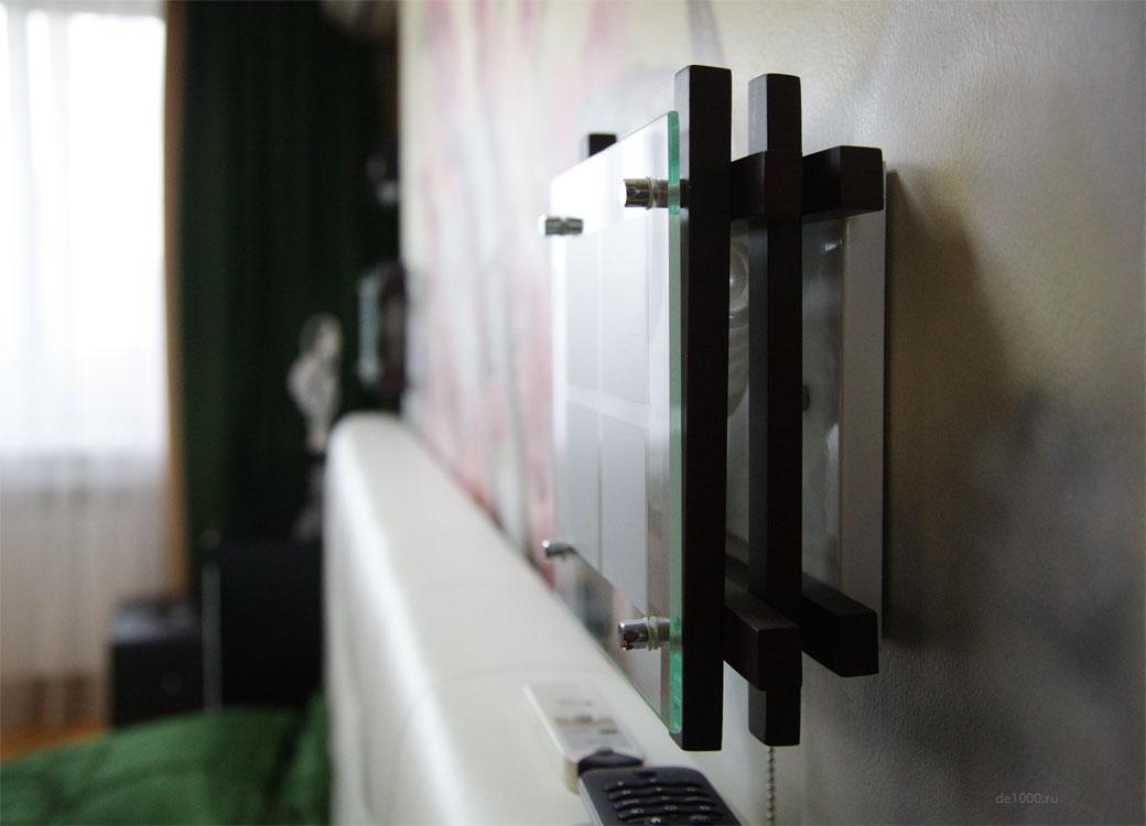 Элемент декора интерьера. Светильник бра над кроватью