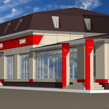 Дизайн экстерьера кафе ресторана гостиницы. Трехмерная визуализация