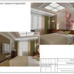 Интерьер главной комнаты. Трехмерная визуализация. Часть дизайн-проекта