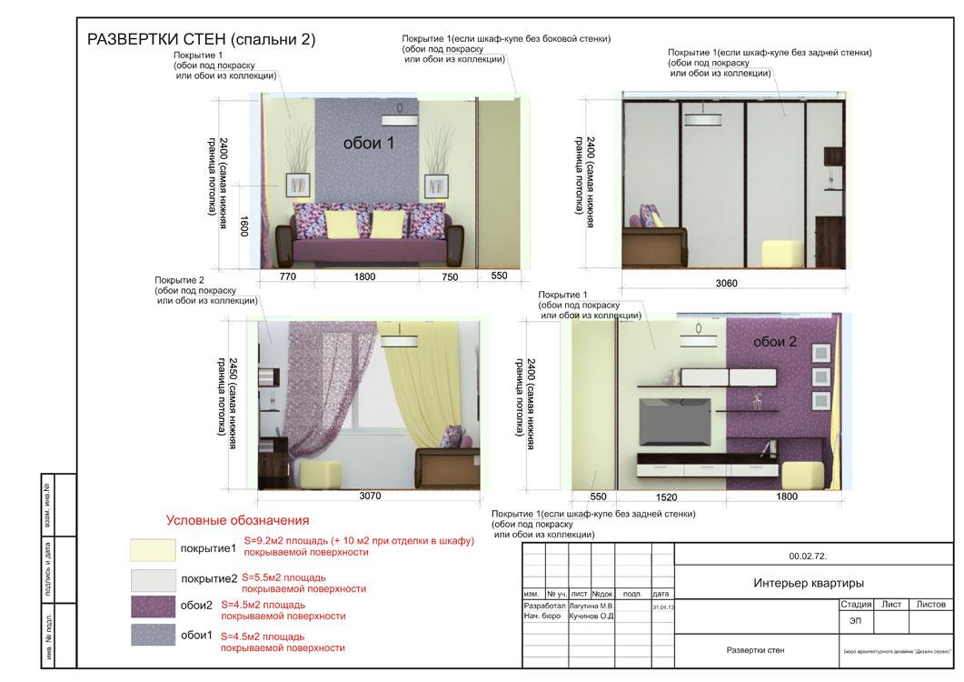 Спальня, развертки,часть дизайн-проекта