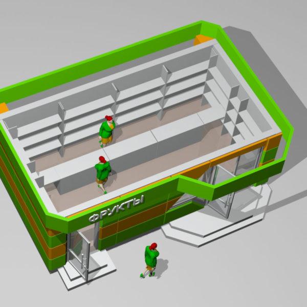 Торговый павильон. Трехмерная визуализация. Часть архитектурного проекта