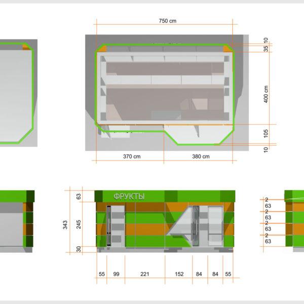 Чертежи торгового павильона - главной архитектурной и функциональной единицы будущего эко-рынка