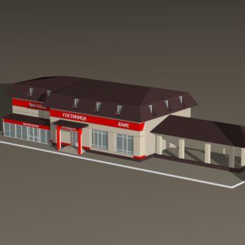 Вид ресторанно-гостиничного комплекса с высоты птичьего полета. Дизайн-проект, трехмерная визуализация