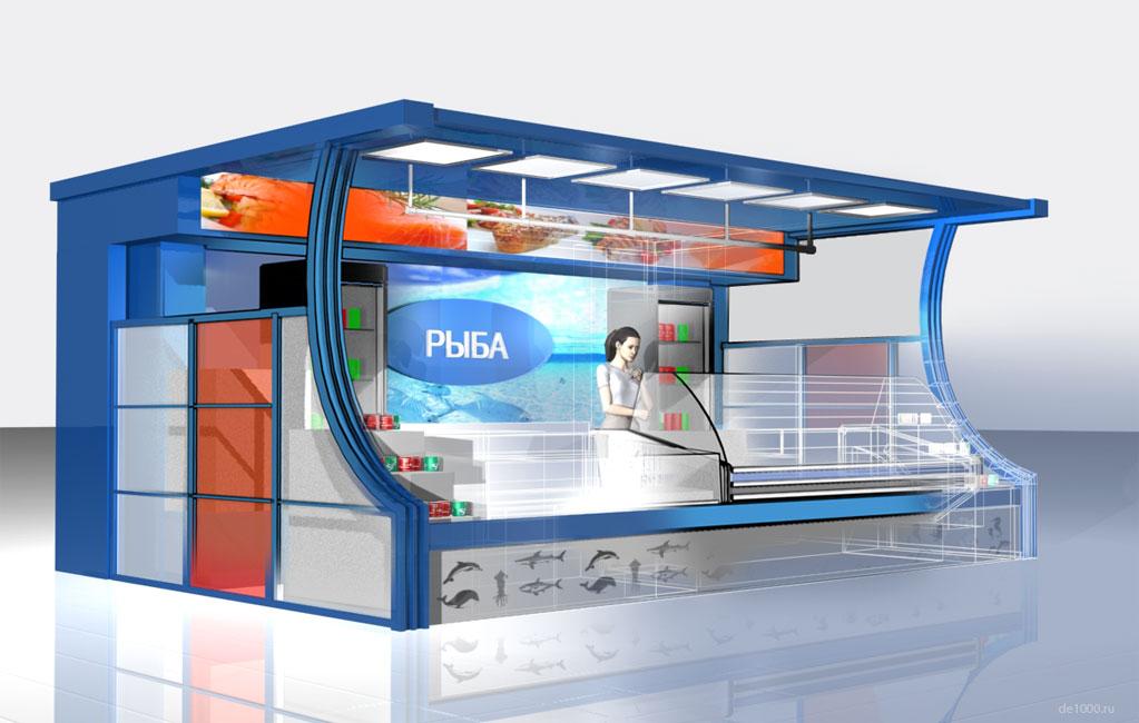 Дизайн интерьерного торгового павильона. Рыбный отдел супермаркета Атолл в Орле