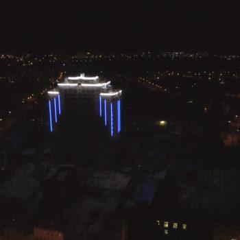 Реализация проекта архитектурной подсветки. Вид с высоты птичьего полета