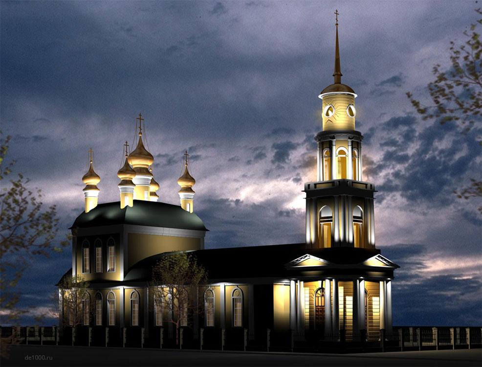 Архитектурная подсветка Ахтырского собора в Орле. Трехмерная визуализация