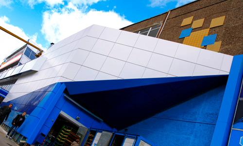 Вентилируемый фасад торгового центра Атолл в Орле