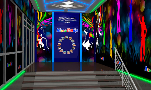 Дизайн интерьера фойе развлекательного комплекса ГриНН в Орле. Трехмерная визуализация