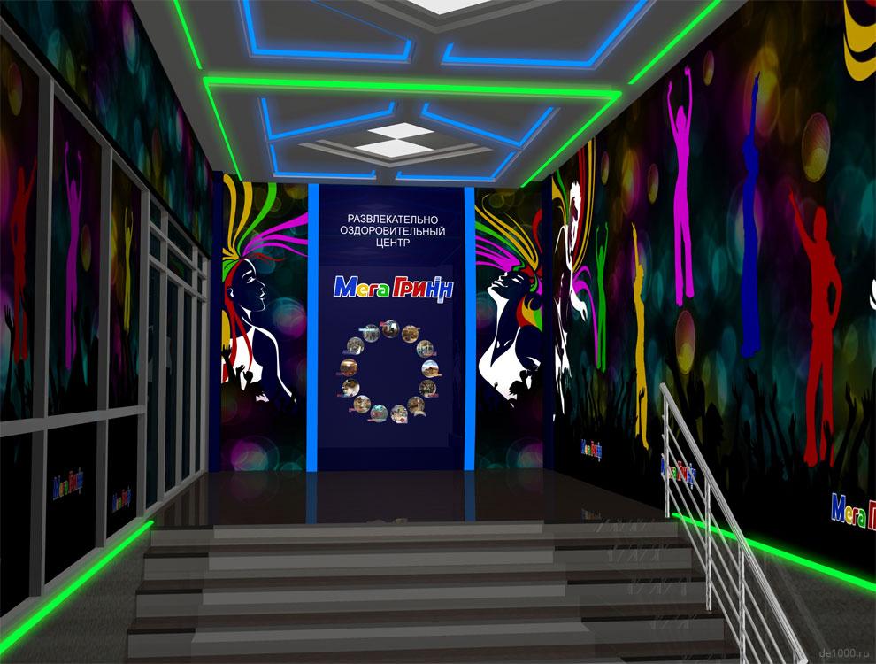 Дизайн интерьера фойе развлекательного комплекса ГриНН в Орле