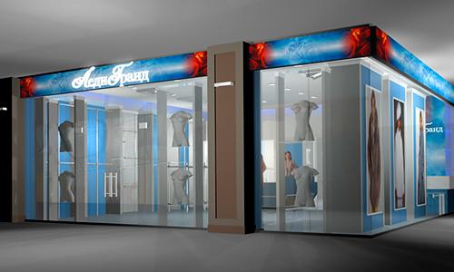 Дизайн интерьера и экстерьера бутика Леди Гранд в Орле и реализация проекта под ключ.