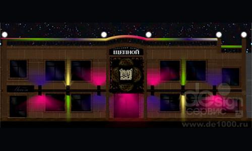 Дизайн рекламного и светового оформления фасада развлекательного комплекса 1001 ночь в Орле