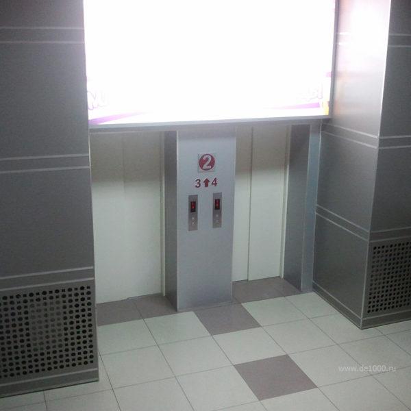 Отделка интерьера композитным алюминием. Зона лифта.