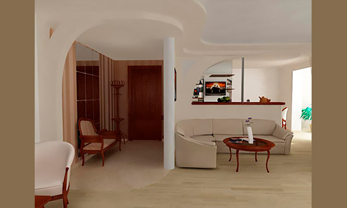 Дизайн интерьера гостиной комнаты и прихожей, Орел, частный интерьер.