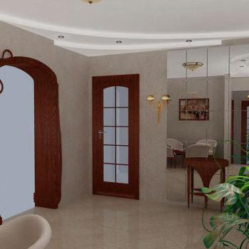 Интерьер гостиной комнаты. Трехмерная визуализация