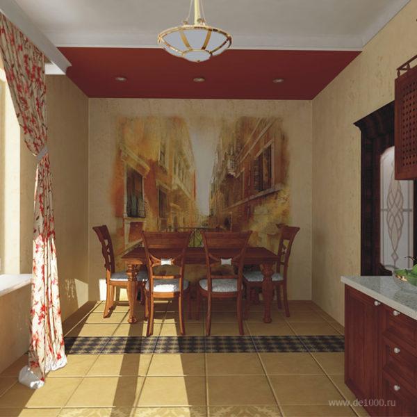 Кухня. Одна из перспектив. Трехмерная визуализация. Дизайн-проект интерьера