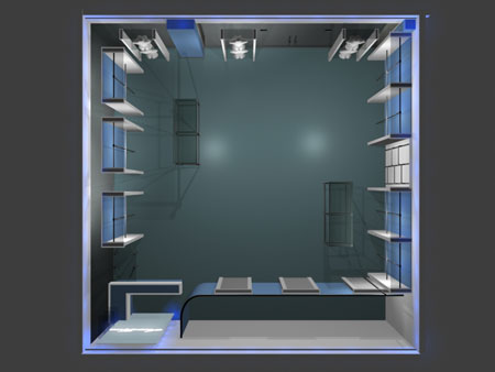 Интерьер бутика Леди Гранд в ТЦ ГриНН в Орле. Трехмерная визуализация. Часть дизайн-проекта