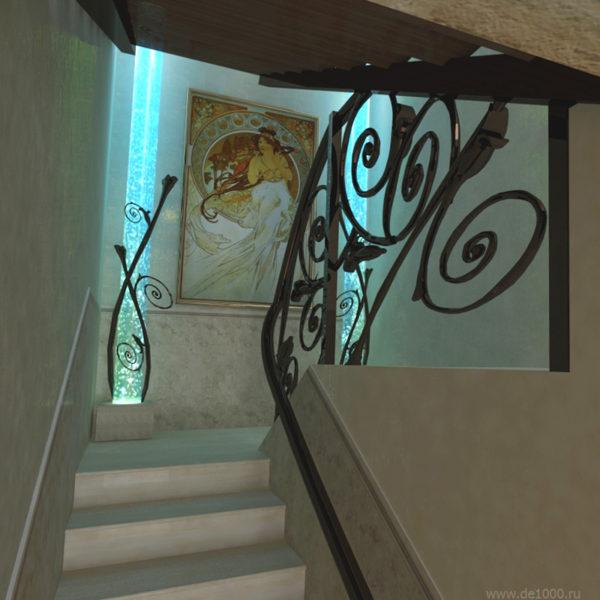 Дизайн проект интерьера. Лестница Ар-Нуво