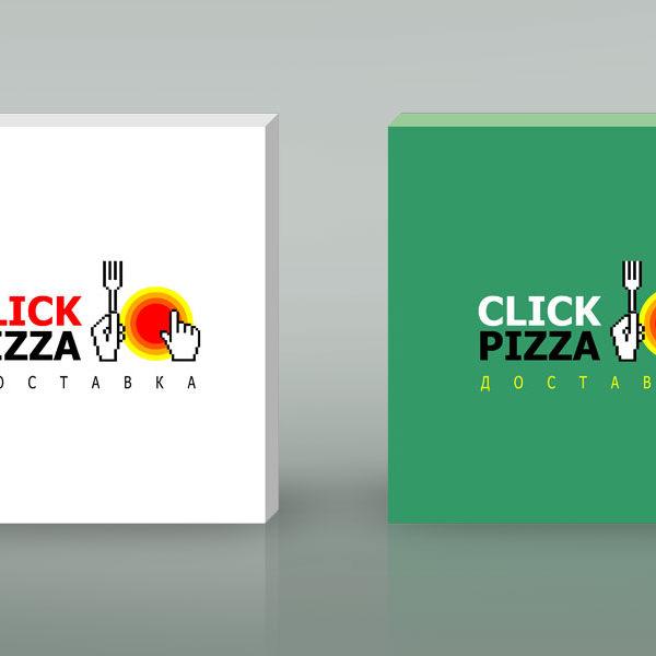 Клик-пицца. Логотип, фирменный стиль, дизайн упаковки