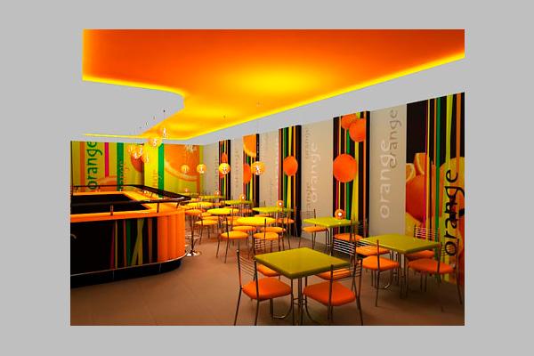 Дизайн интерьера. Фирменный стиль. Кафе Апельсин