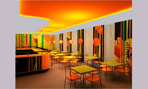 Дизайн интерьера кафе Апельсин в Орле, разработка логотипа, фирменного стиля, дизайн рекламно-полиграфической продукции