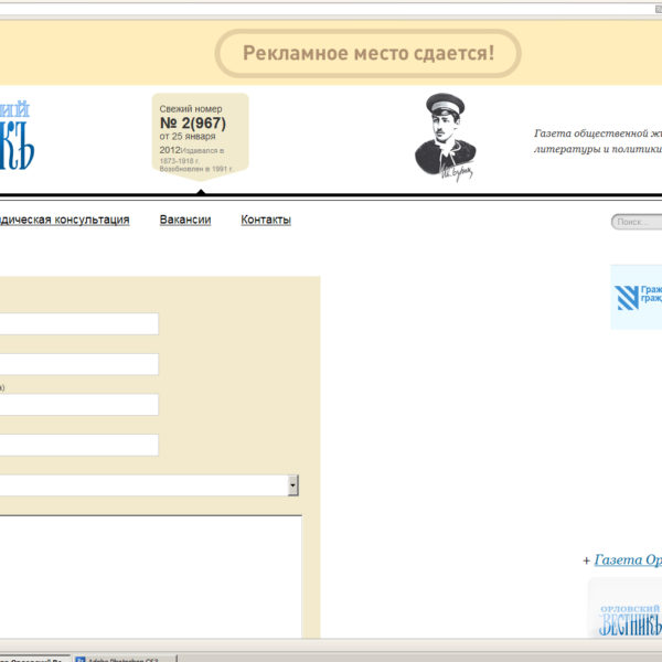 "Сайт под ключ ""Орловский Вестник"""