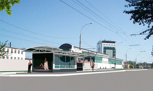 Эскизный проект остановочного павильона, Орел, остановка «Гипсовый комбинат»
