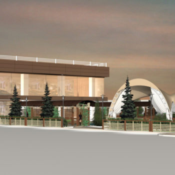 Визуализация проекта ресторанного комплекса в 3Д графике. Первое приближение.