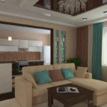 Гостиная. Дизайн интерьера квартиры в Орле. Трехмерная визуализация