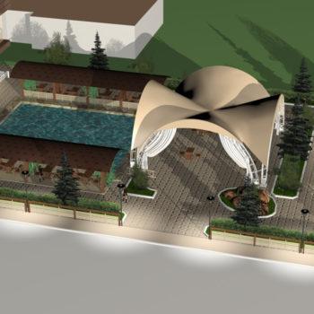 Визуализация проекта ресторанного комплекса в 3Д графике. Вид с высоты птичьего полета