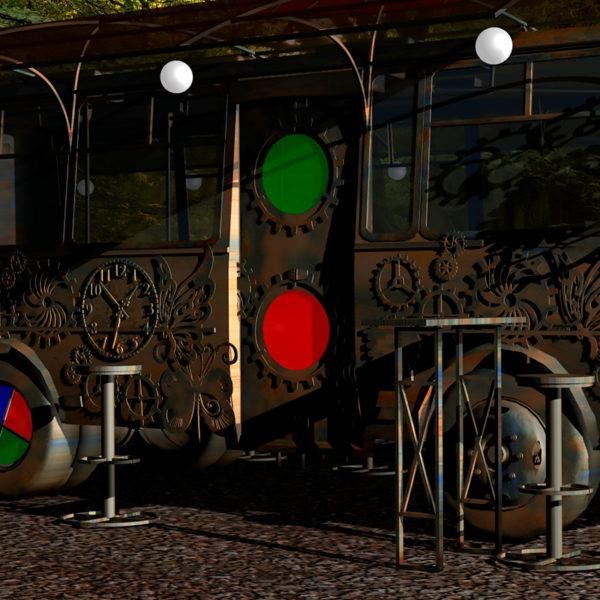 Летнее кафе в стиле Стим Панк на базе автобуса ПАЗ