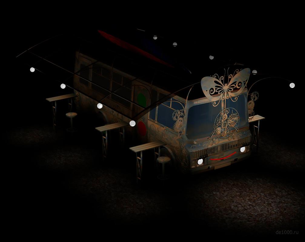 Проект летнего кафе на базе автобуса ПАЗ. Ночной вид. Визуализация