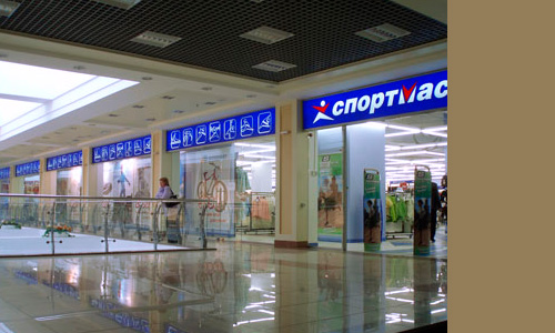 Рекламное оформление фасада и интерьеров торговой сети СпортМастер, Орел, Белгород, Курск
