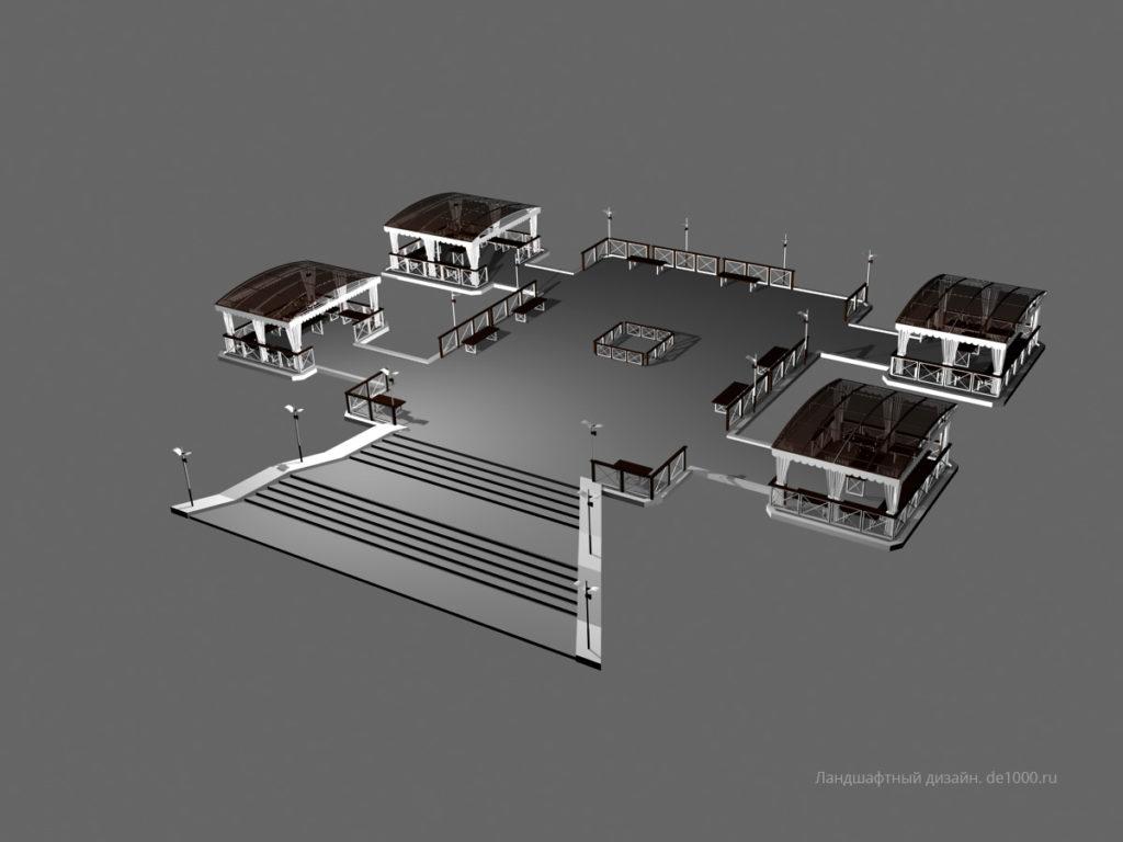Трехмерная визуализация фуршетной зоны. Беседки, ограждения, освещение, скамейки