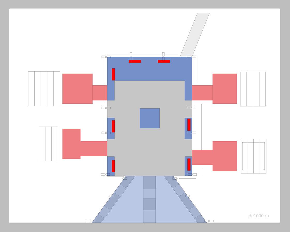 План благоустройства фуршетной зоны парк-отеля Мечта. Серая зона - изначальное состояние объекта. Синее и красное - проектируемая часть