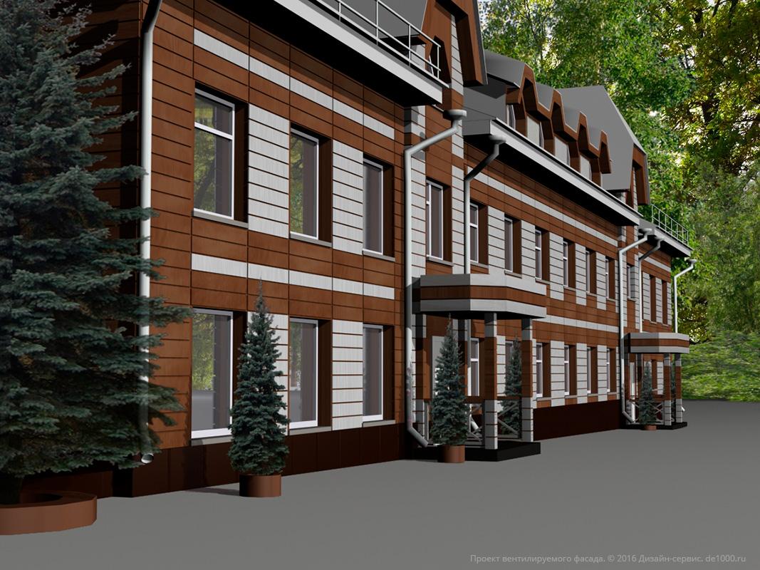 """Проект вентилируемого фасада. Трехмерная визуализация, перспектива. Парк-отель """"Мечта"""""""