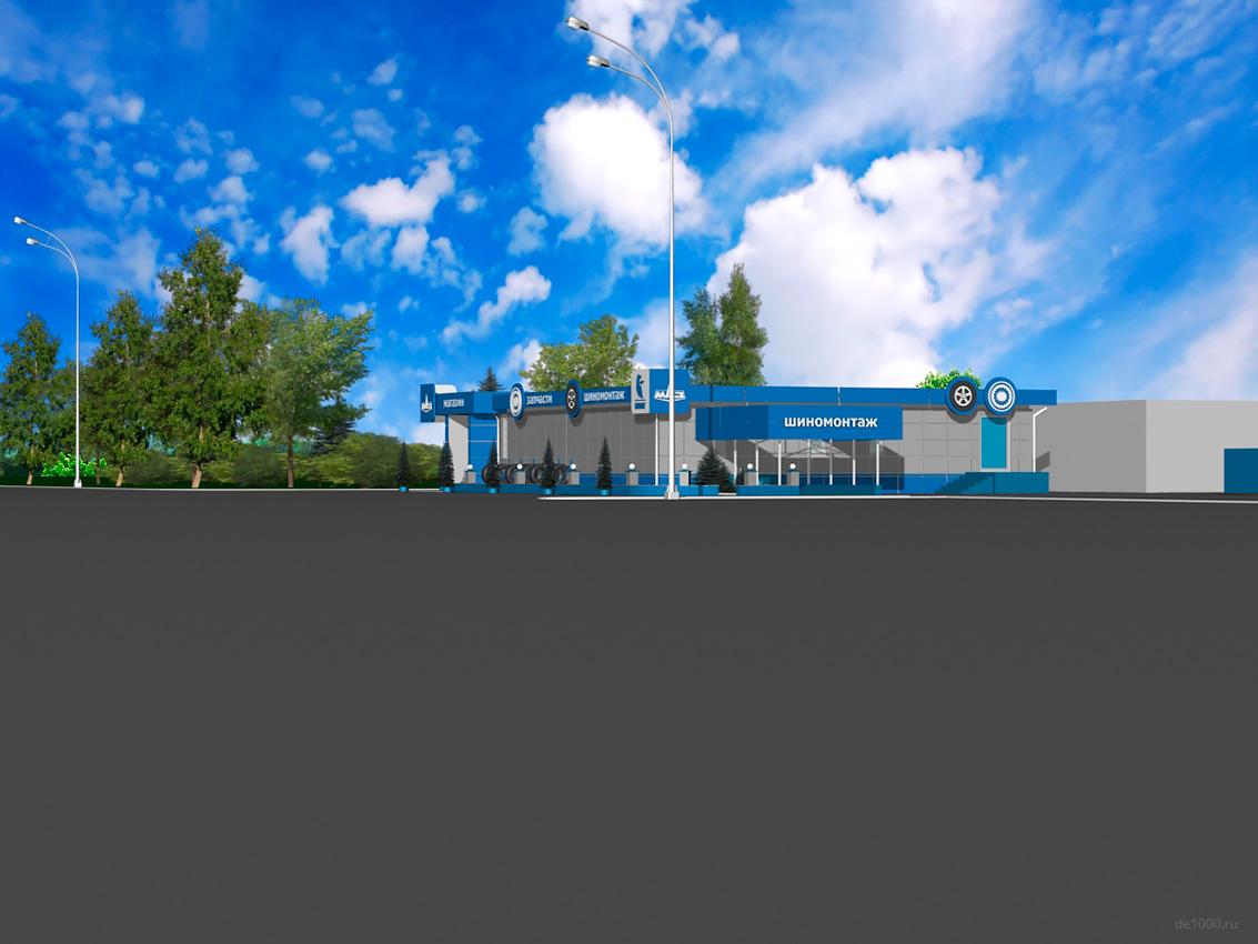 Общий вид сервисного комплекса Камаз на трассе M2. Трехмерная визуализация