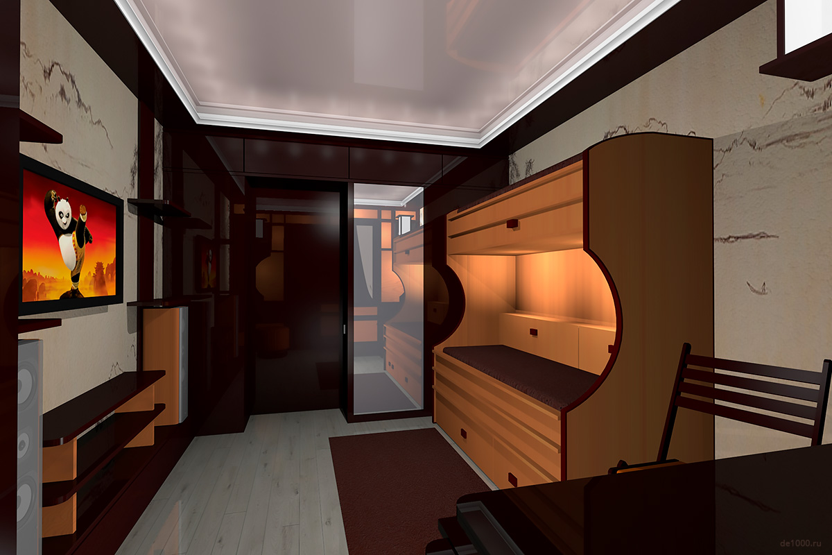 Одна из главных перспектив комнаты. Вид со стороны рабочего стола