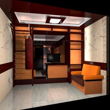 Балкон. Вариант размещения дивана, шведской стенки, полок, груши для занятий Каратэ слева