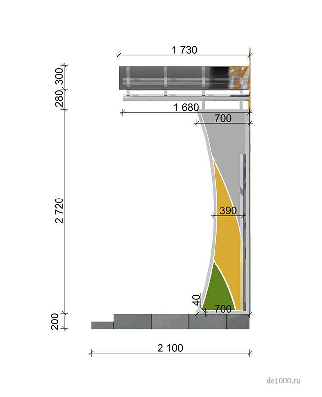 Один из вариантов решения боковых элементов входной группы с размерами