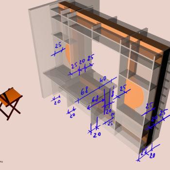 Чертеж бывшей зоны окна, превращенной в стол и книжные полки