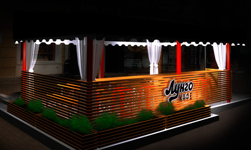Дизайн проект летнего кафе. Орел, ул. Ленина, кафе Лунго