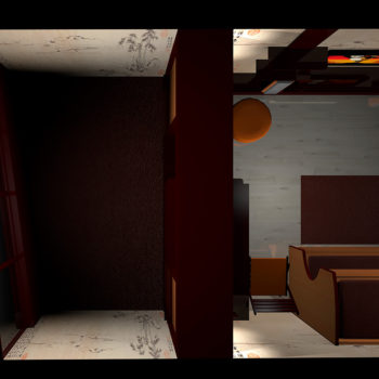 Вид зоны балкона сверху. 3Д визуализация