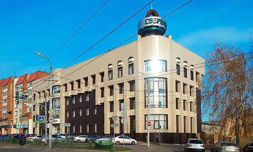 Вентилируемый фасад из керамогранита под ключ. Орел, брестская, 8, сбербанк. Сделано в Дизайн-сервис
