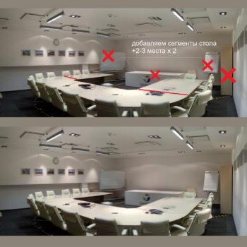 Планировка конференц-зала. Набросок концепции прямо на фотографии. Показано, что удаляем