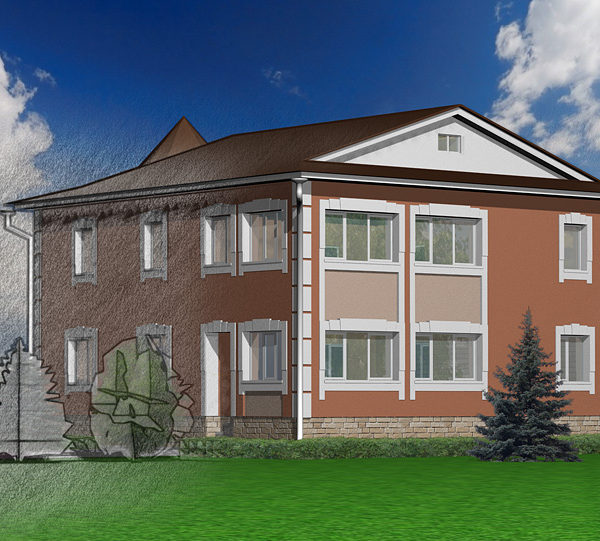 Дизайн проект благоустройства фасада загородного дома. Перспектива