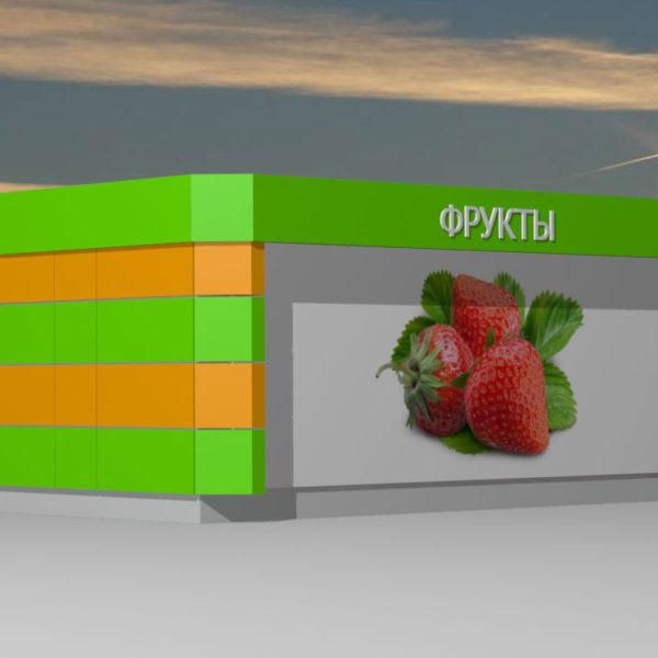 Торговый павильон. Рекламная плоскость на задней части павильона. Трехмерная визуализация