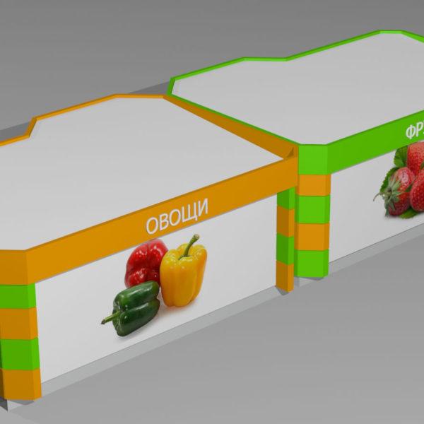 """Сдвоенный торговый павильон. Павильоны спроектированы так, что легко образуют """"двойные"""" конструкции с удвоенной торговой площадью"""